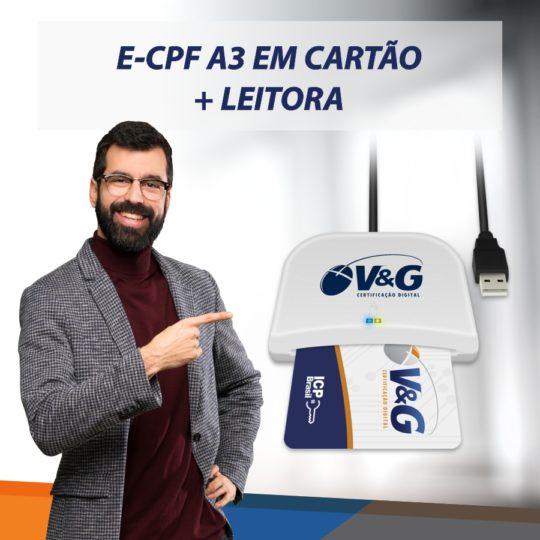 E-CPF A3 EM CARTÃO INTELIGENTE + LEITORA
